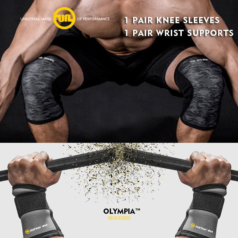 Details about Knee Sleeves Patella 7mm Support & Wrist Straps Wrap Sbd  Lifting Strong CrossFit